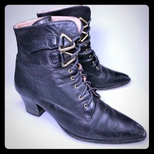 Vtg Leather Granny Ankle Boots Punk Witch Grunge